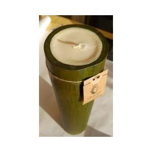 Bougie Bambou vert cire de soja bio 38cm, senteur Verveine Orange