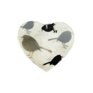 Coeur à suspendre en Capiz Décor Oiseaux Gris Argenté