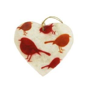 Coeur à suspendre en Capiz Décor Oiseaux Rouge Cuivré