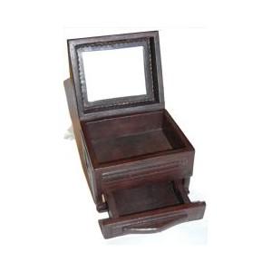 Coffret pirate Touareg en bois et cuir repoussé GM (avec tiroir)