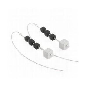 Boucles d'oreilles en argent 925‰ avec quatre cubes mobiles